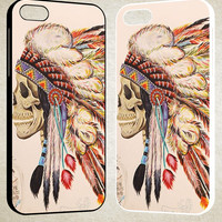 Indian feather skull F0492 iPhone 4S 5S 5C 6 6Plus, iPod 4 5, LG G2 G3, Sony Z2 Case