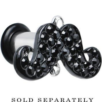 4 Gauge Black Gem Paved Fancy Mustache Single Flare Steel Plug