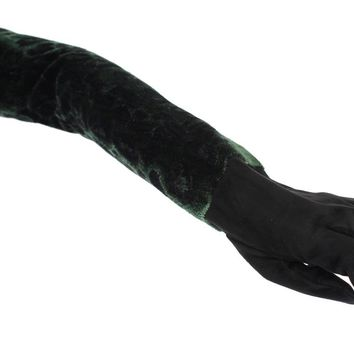 Green Black Leopard Leather Elbow Gloves