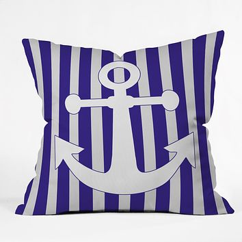 Lara Kulpa Navy Anchor Throw Pillow