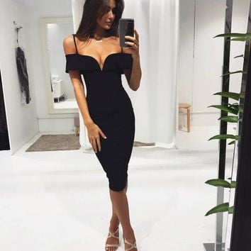 Herve Leger 2018 Trending Red Black powder apricot V collar Off Shoulder sling Sexy women spring summer prom dress skir