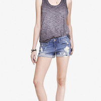 2 1/2 INCH LOW RISE DESTROYED CUFFED DENIM SHORTS from EXPRESS