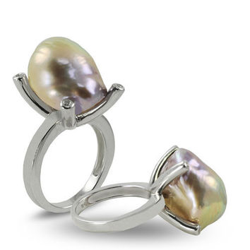 Imperial Pearl:  14-17mm Baroque Natural-Color Metallic Lavender Pearl Ring in Sterling Silver - Size 7