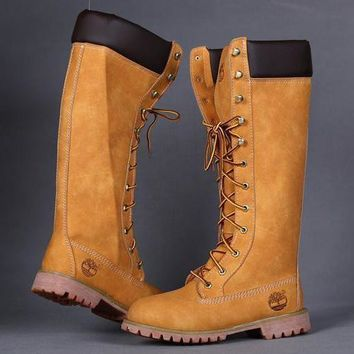 Timberland Women Leather Lace-Up Waterproof Boots Shoes-8