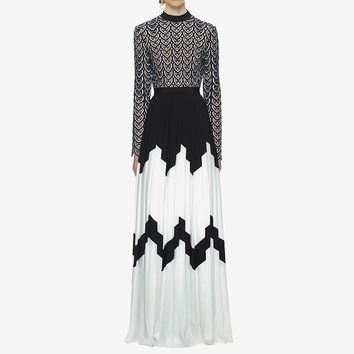 Pleated  Black and White Lace Embroidery Long Sleeve Maxi Dress