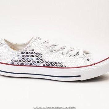 Silver Sequin Canvas Converse All Star Low Top Sneakers Shoes - Beauty Ticks