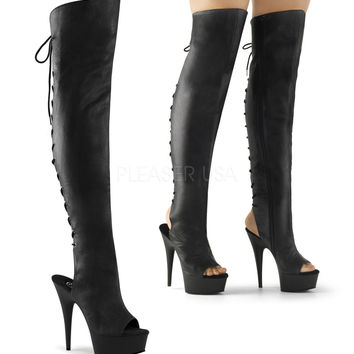 "Delight 3019 Black Leather Platform Thigh High Back Lace Boot 6"" Heel Size 14"