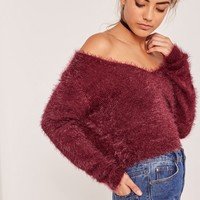 Missguided - Fluffy Tab Back Cropped Jumper Burgundy