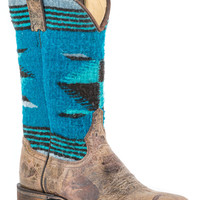 Stetson Ladies Fashion Square Toe Boots Brown Vamp Serape 11shaft Square Toe Toe