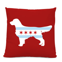Chicago Flag Golden Retriever Bulldog Pillow - Chicago Home Decor - Golden Retriever pillow - dog breed silhouette pillow - dog home decor