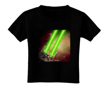 Laser Eyes Cat in Space Design Toddler T-Shirt Dark by TooLoud