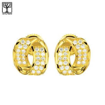 Jewelry Kay style Fashion 925 Silver in 14k Gold Plated Twisted Oval Screw Back Earrings SHS 617 G