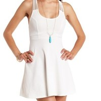 Textured Strappy Back Skater Dress by Charlotte Russe - White