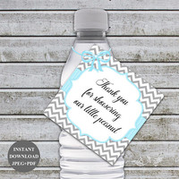 Baby Shower Water Bottle Labels Favor Tags Water Bottle Labels Printable Bottle Labels Thank you for showering our little peanut (49D)
