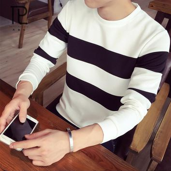 New Autumn thrashers homme Casual Hoodies O-Neck Striped Slim Fit Knitting Mens Hoodies And Pullovers Men Hoodies M-5XL#V0