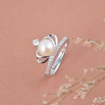 DKJN6 Sterling silver crown pearl ring personalized minimalist influx of people finger joint ring