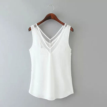 Women Lady Chiffon V Neck Summer Top Tank Blouse Sleeveless Loose Vest T-Shirt 2 Colors 3 Sizes 03-004