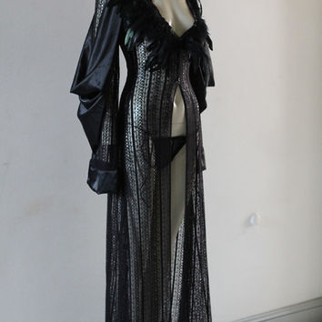 Deluxe Black Lace Robe Feathers Gown Lingerie Vintage Gift Unique Limited Edition Designer Chrisst SPECIAL ETSY PRICE