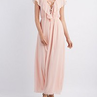 RUFFLE LACE-UP MAXI DRESS