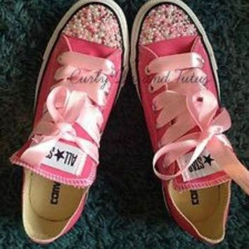 DCKL9 Adult ' Pearl Bling' converse in your choice of color & ribbon shoelace to match. Supe