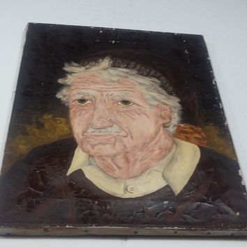 Vintage Painting TITLED THE GREEK FISHERMAN Oil On Canvas Signed HERSBRUCK 1969