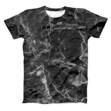 The Smooth Black Marble ink-Fuzed Unisex All Over Full-Printed Fitted Tee Shirt