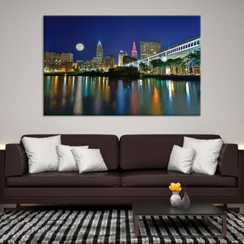 67770 - Full Moon Night in Cleveland Canvas Art, Extra Large Cleveland Wall Art Canvas Print, Cleveland Ohio Wall Art, Cleveland City Skyline Canvas, Skyline Wall Art, Full Moon Wall Art
