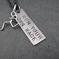 RUN YOUR Own RACE Necklace with Sterling Silver Runner Girl Charm - Dog Tag Style Pendant with Sterling Silver Runner Girl on Gunmetal Chain