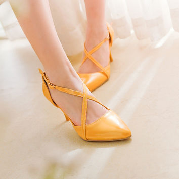 Pointed Toe Patent Leather Buckle Cross Straps Ladies High Heels Spike Shoes 6784