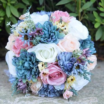 Vintage Blue Silk Flower Wild Flowers Bouquets for Wedding Plain Color Bridal Bouquet Wedding Centerpieces Home Decoration FE81