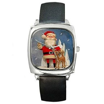 Christmas Santa and Rudolph the Red Noseed Reindeer on a Silver Square Watch ... Ship From Hong Kong
