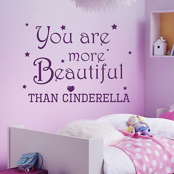 Wall Decals Quote Cinderella Decal You Are More Sticker Girl Room Decor MR356