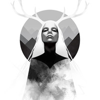 Limited Edition Giclee Print - Inheritance - Digital Painting - Nature, Antlers, Mountains, Woman