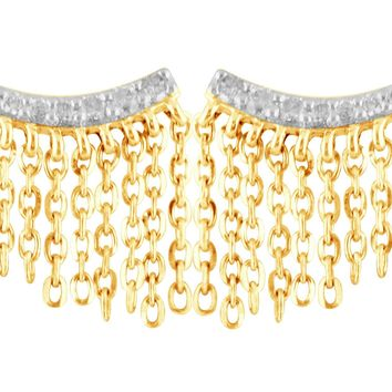On the Fringe Diamond Earrings - 14k Yellow Gold Plated