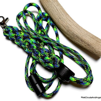 Paracord Id Lanyard 550 Military Grade Cord Strong Breakaway Green Blue and Black Multi Cord Adjuster Handmade Customize Colors