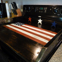 Americana Flag Noodle Board Dough Board Country Kitchen Board Wooden Tray Stove Top Cover Laundry Room