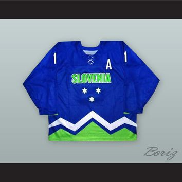 Anze Kopitar 11 Slovenia National Team Blue Hockey Jersey
