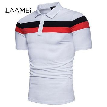 ESBON Laamei Solid Patchwork Slim Men Polos Shirts Fashion 2018 Clothing Business Jerseys Plus Size Tops Shorts Sleeve Polos Dropship