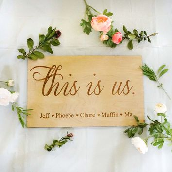 """Custom Personalized This is Us Family Names Sign 11"""" x 18"""""""