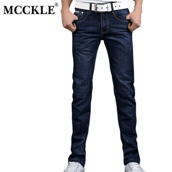 MCCKLE Mens Jeans 2017 New fashion men jeans Denim pant Fit Denim flare pants patchwoek casual wash pants jeans clothing
