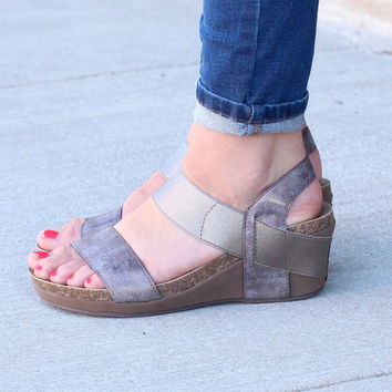 Corky's: Brandie Sandal Wedges {Brushed Gold}
