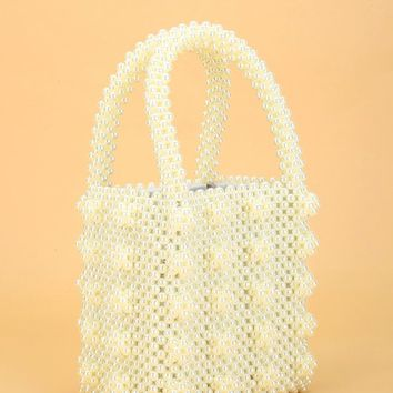 Faux Pearl Beaded Tote Bag