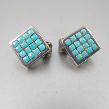 Zuni Snake Eye Earrings. Turquoise Sterling Petit Point Clip On Earrings Signed PB. Southwestern Jewelry.