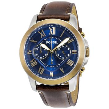 Fossil Grant Blue Dial Chronograph Leather Mens Watch FS5150
