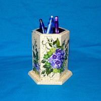Pen Holder Wooden Desk Organizer Wood Cup Pencil Holder Hand Painted Hydrangeas Decorative Distressed One Of A Kind Gift