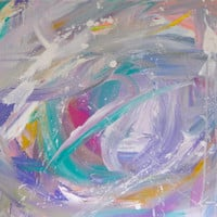 Original Abstract Painting 16x20 Canvas Contemporary Art Purple Pink White Turquoise Gray