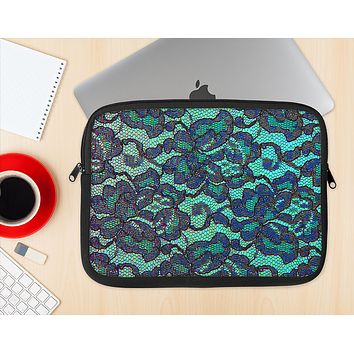 The Blue & Teal Lace Texture Ink-Fuzed NeoPrene MacBook Laptop Sleeve