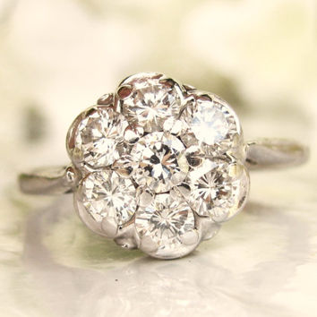 Vintage Engagement Ring 0.77ctw Diamond Daisy Cluster Ring 14K White Gold Diamond Wedding Ring Size 6.5!