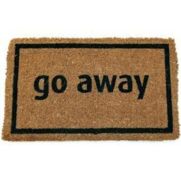 Imports Unlimited Go Away Black 17 In. X 28 In. Non Slip Coir Door Mat P689 At The Home Depot