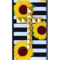 Sunflower Stripes Gold Studded Cross iPhone 5/5s case - iPhone 5/5s
